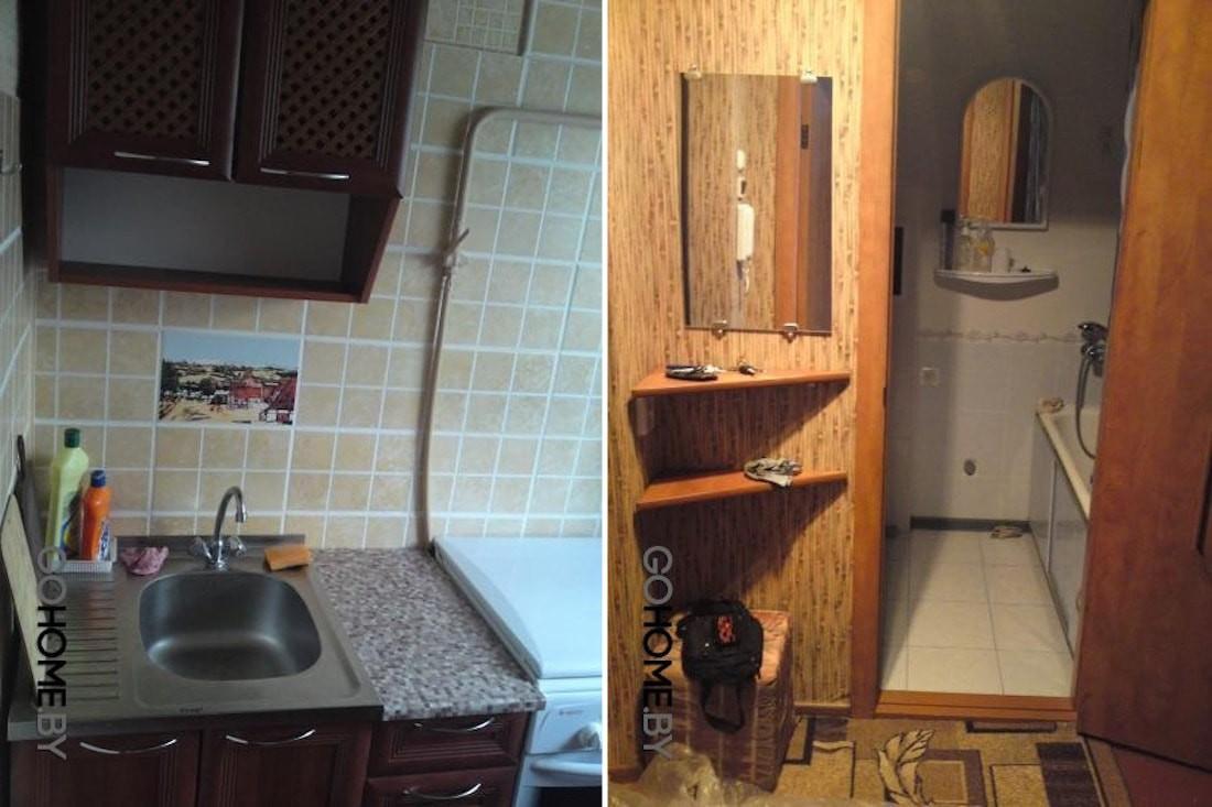 Современный дизайн хрущевки для молодой семьи с комнатой всего 11,7 кв.м. и старыми досками на полу
