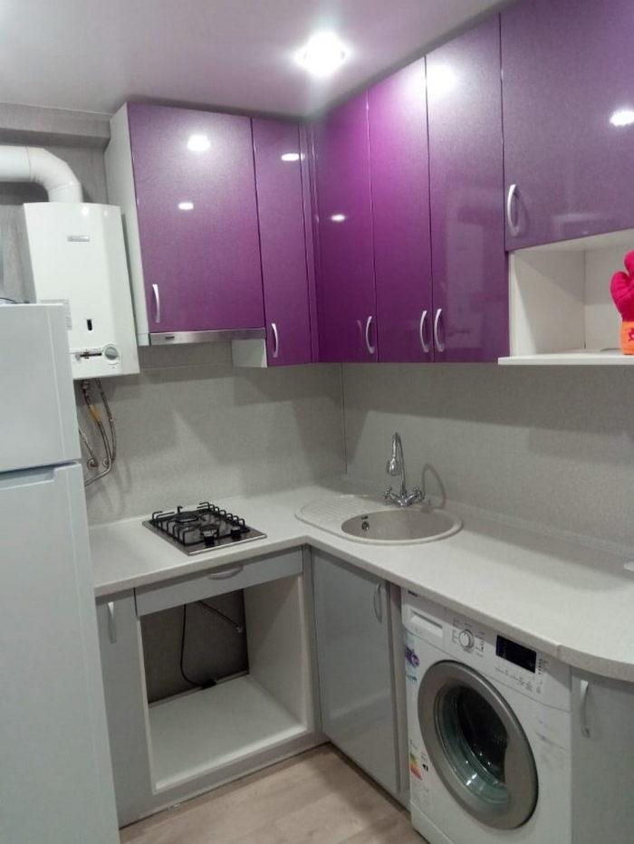 Дизайн кухни в хрущевке с газовой колонкой  - 40 фото с идеями для интерьера