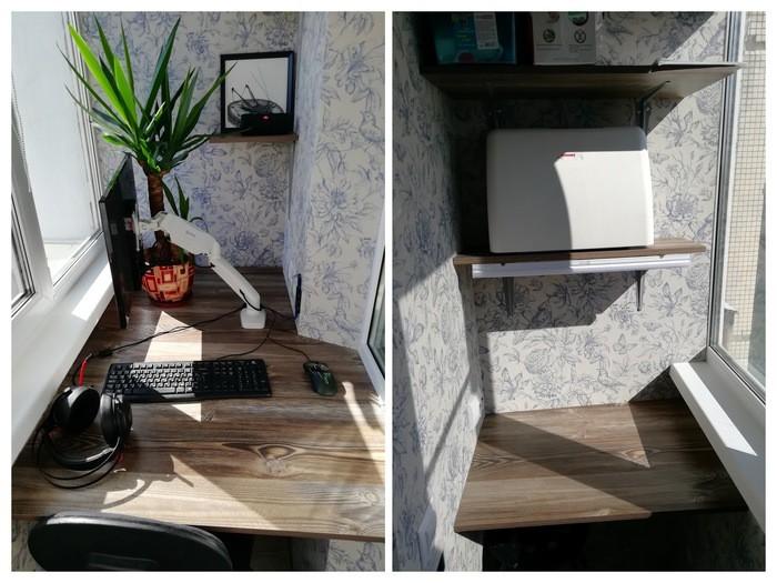 Уютный узкий утепленный балкон со столиком для компьютера с бюджетом в 25000 рублей
