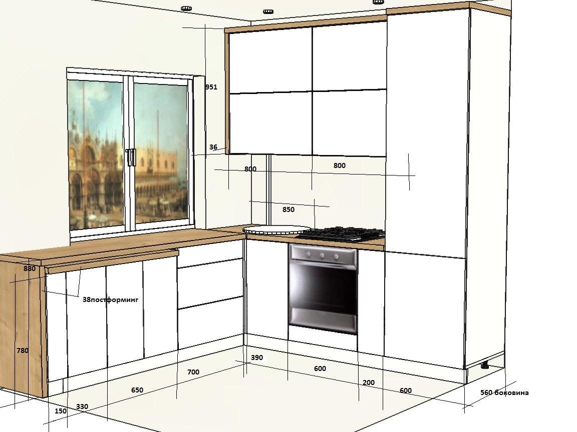 Современная кухня в трехкомнатной хрущевке с необычным передвижным столом