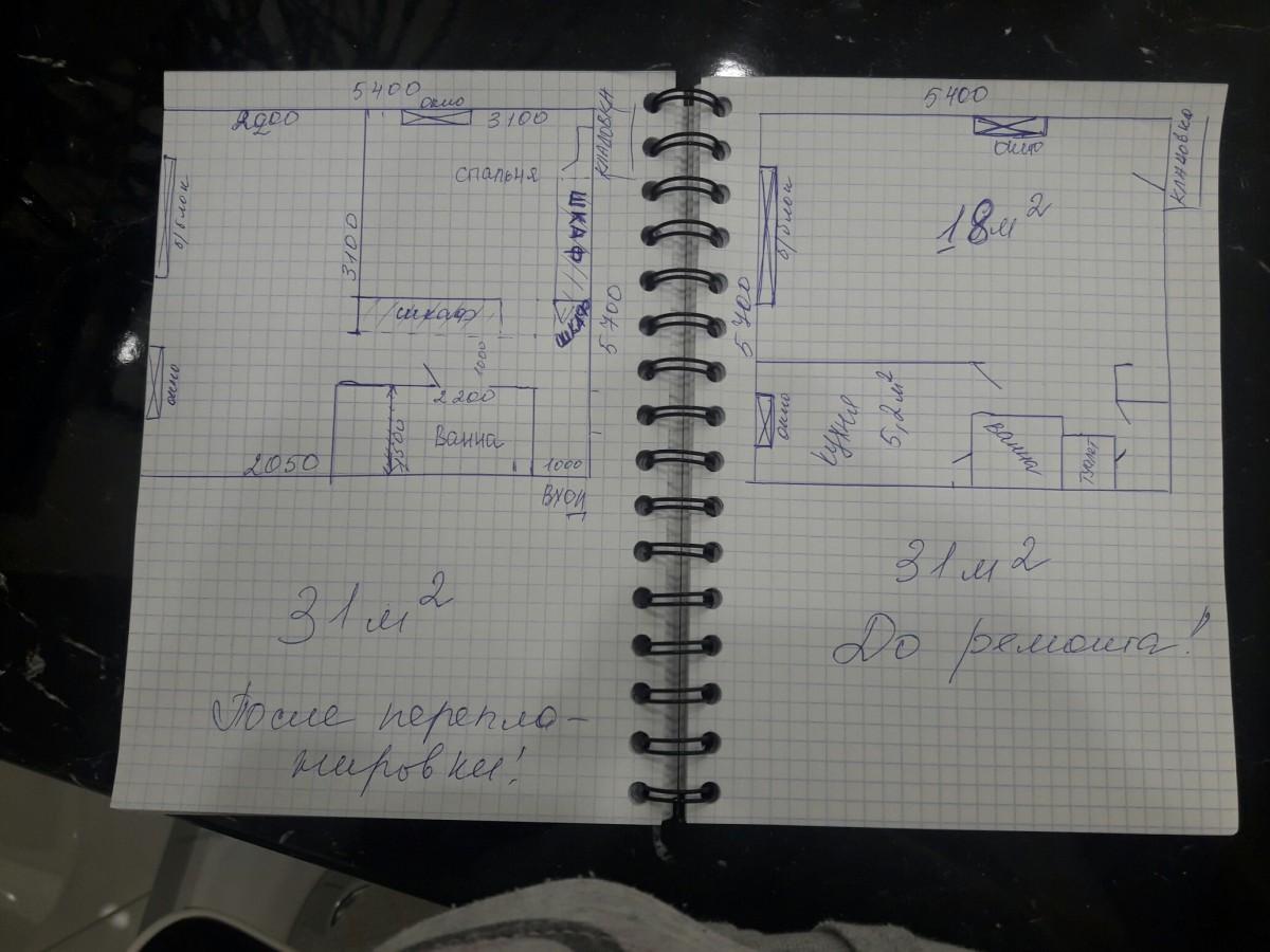 """Превращение однокомнатной хрущевки 31 кв.м в """"евродвушку"""" с отдельной спальней"""